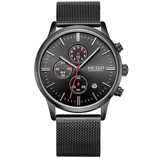 Moda Hombre Deluxe Cronógrafo Luminoso Negro Cuarzo Relojes Analógico Acero Inoxidable Malla Banda Reloj de pulsera para hombre: Amazon.es: Relojes