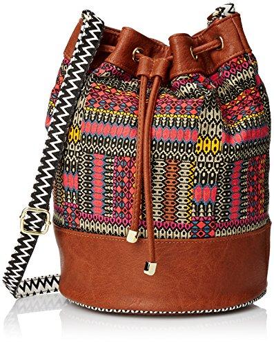 LuLu Woven Bucket Handbag, Cognac Multi, One Size
