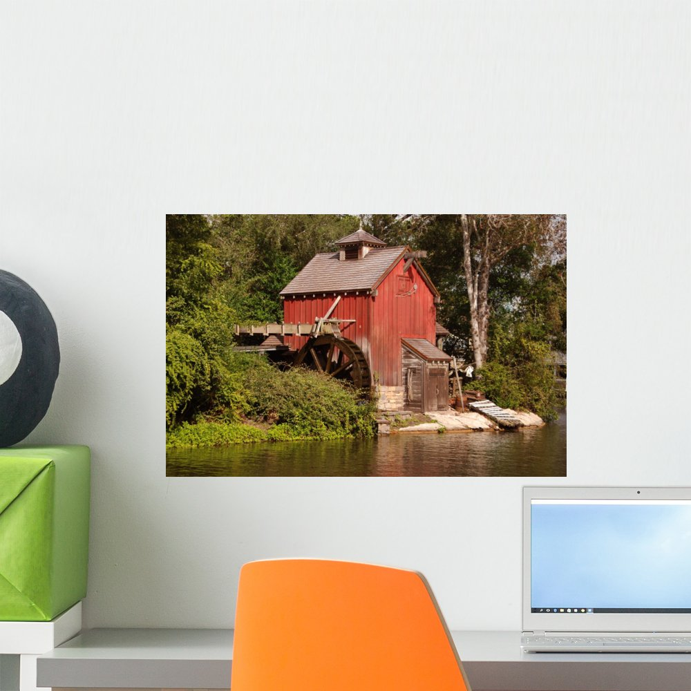 18 in W x 12 in H Wallmonkeys Old Mill Wall Decal Peel and Stick Graphic WM100917