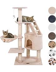 Happypet® Kratzbaum für Katzen mittelgroß 120 cm hoch, Kletterbaum Katzenbaum, CAT017-4 stabile Säulen mit Natur-Sisal ca. 8cm Durchmesser, Liegemulde, Haus, Treppe, Aussichtsplattform, Farbe wählbar