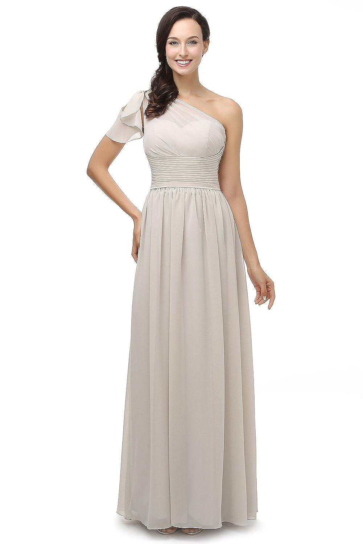 L'ivresse Women's One Shoulder Bridesmaids Long Evening Gown