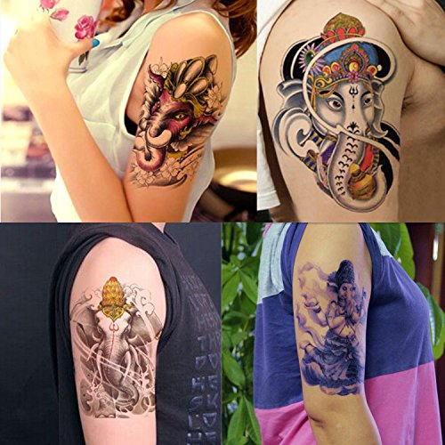 Ganesha Halloween Costume (Dalin 4 Sheets Temporary Tattoos, Thailand Ganesha, Warrior)