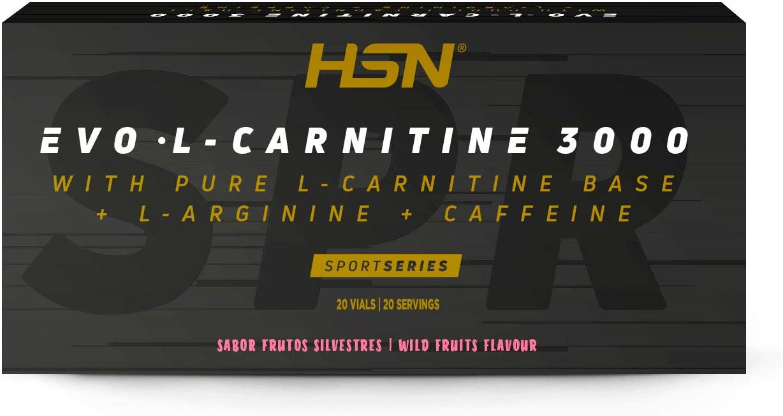 Carnitina Líquida de HSN Evo L-Carnitine 3000   Pérdida de Peso + Quemagrasas + Fat burner con Arginina, Cafeína   Vegetariano, Sabor Frutos del Bosque, 20 Viales de 10ml
