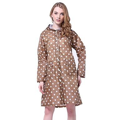 d8bb200c166405 GWELL Damen Punkte Regenmantel mit Kapuze Tasche Wasserdicht Atmungsaktiv  Regenjacke Regencape braun
