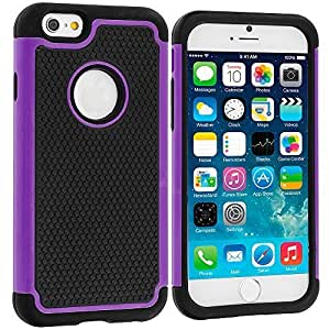 Accessory Planet(TM) Black / Purple Hybrid Rugged Matte Hard/Soft Protective Case Cover for Apple iPhone 6 (4.7)