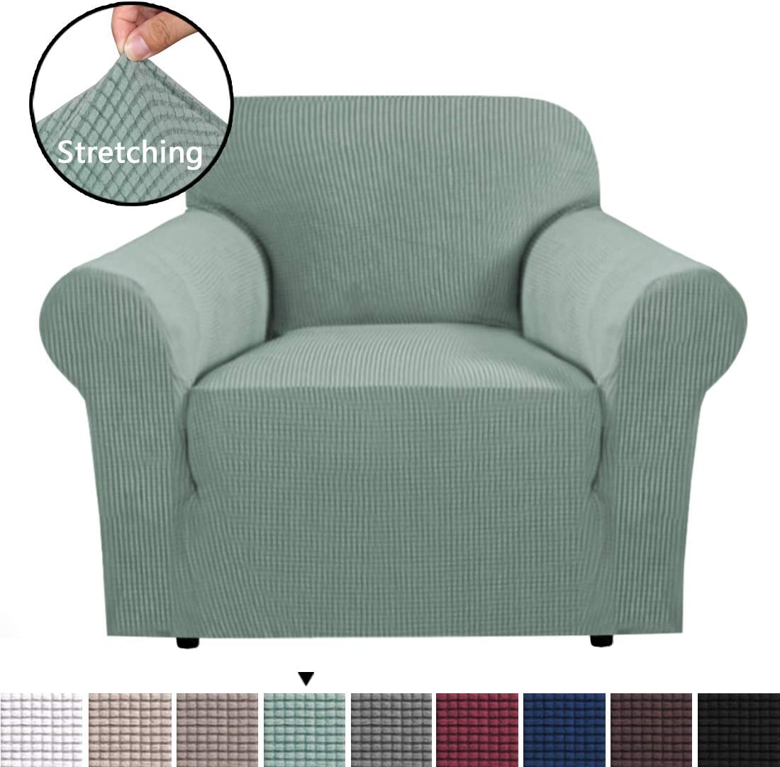 H.VERSAILTEX 1 Piece Stretch Slip Covers/Protector Featuring Jacquard Textured Twill Fabric, High Spandex Lycra Slipcover Machine Washable/Skid Resistance (One Seater Chair, Sage)