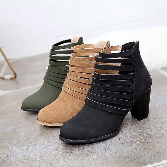 Botas, JiaMeng Mujer Nieve Plana del Tobillo Botas otoño Zapatos Cremallera Tobillo Alrededor del Dedo del pie Roma Botas Cortas Solos Zapatos: Amazon.es: ...