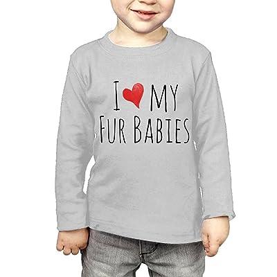 ZheuO Boys & Girls Toddler I Love My Fur Babies Soft 100% Cotton T-Shirts Unisex Gray