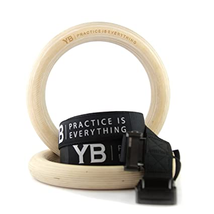 Yogabody Wooden Gymnastic Rings With Adjustable Straps Set Of 2