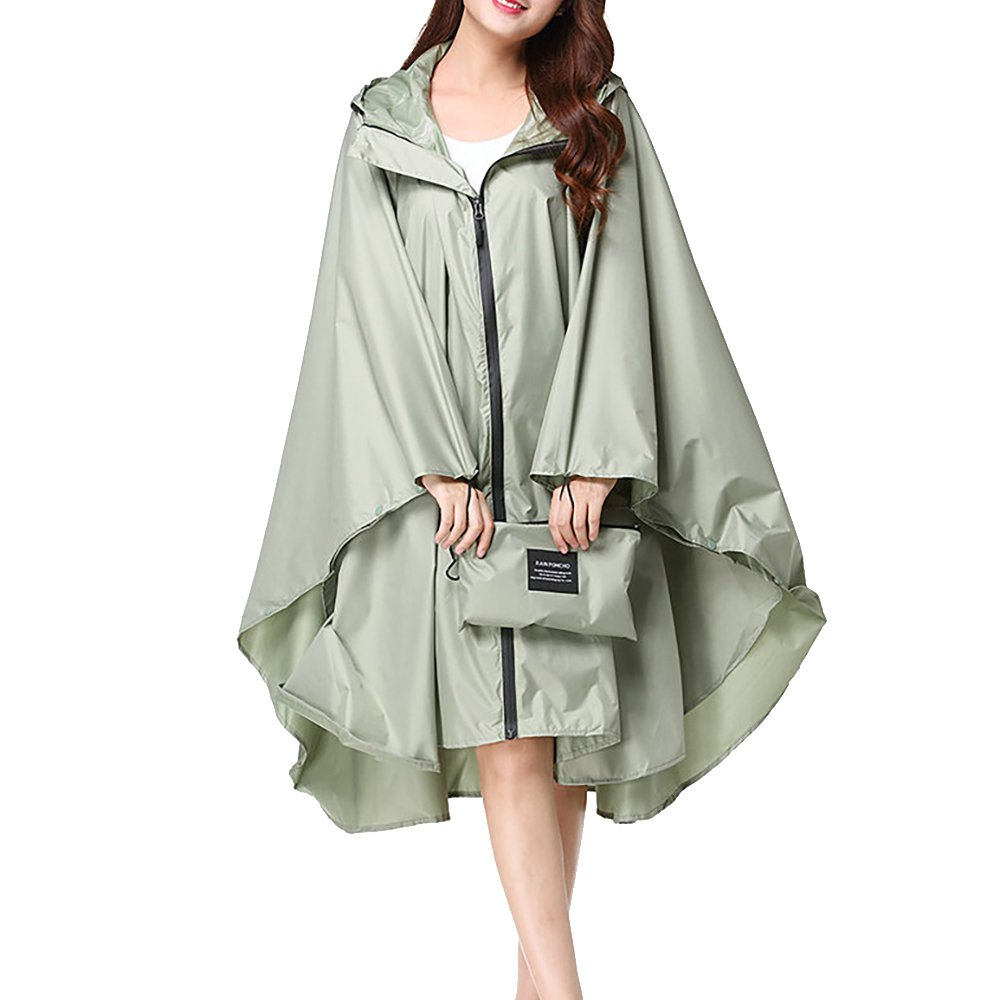 QZUnique Lightweight Outdoor Hooded Waterproof Packable Rain Poncho Jacket Coat Raincoat with Zipper for Adults by QZUnique (Image #1)