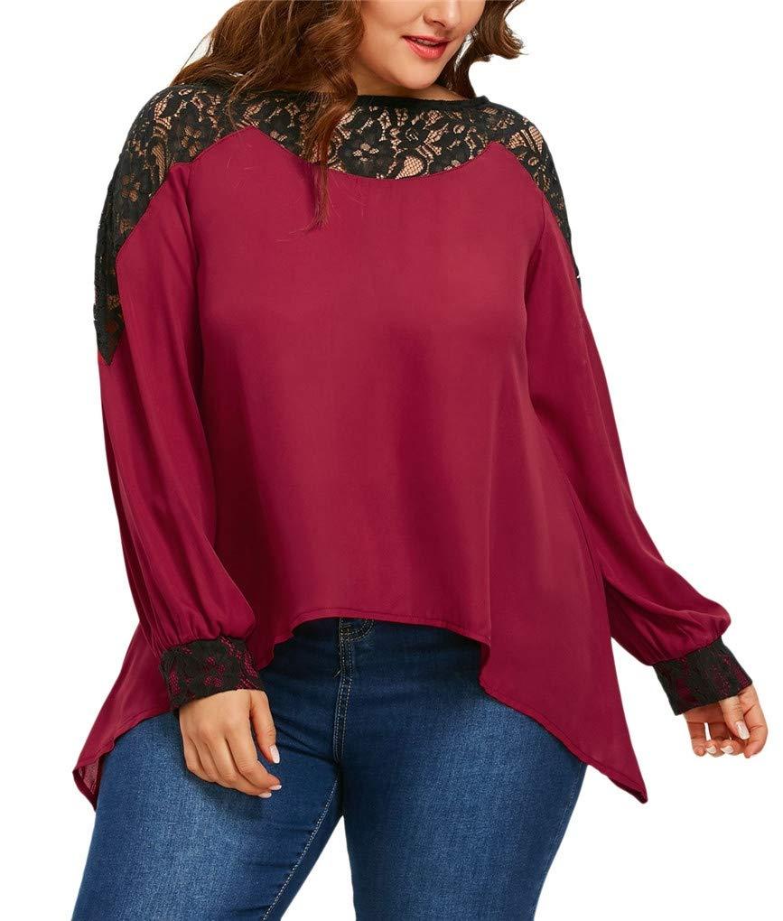Fenxxxl Women's Plus Size Lace Patchwork Tunic Tops Irregular Hem Shirt Flowy Loose Chiffon Blouses F86 Black 2XL