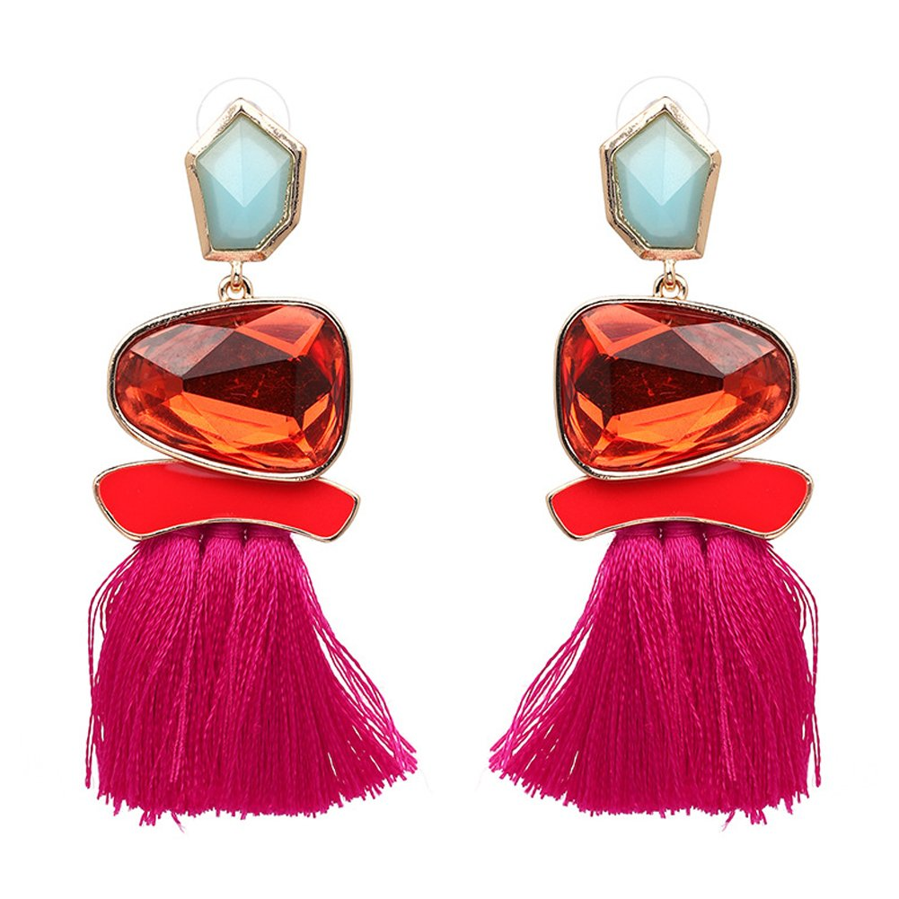 Tassel Earrings Cute Dangle Crystal Earring Thread Jewelry Bohemian Drop Earrings FIFATA