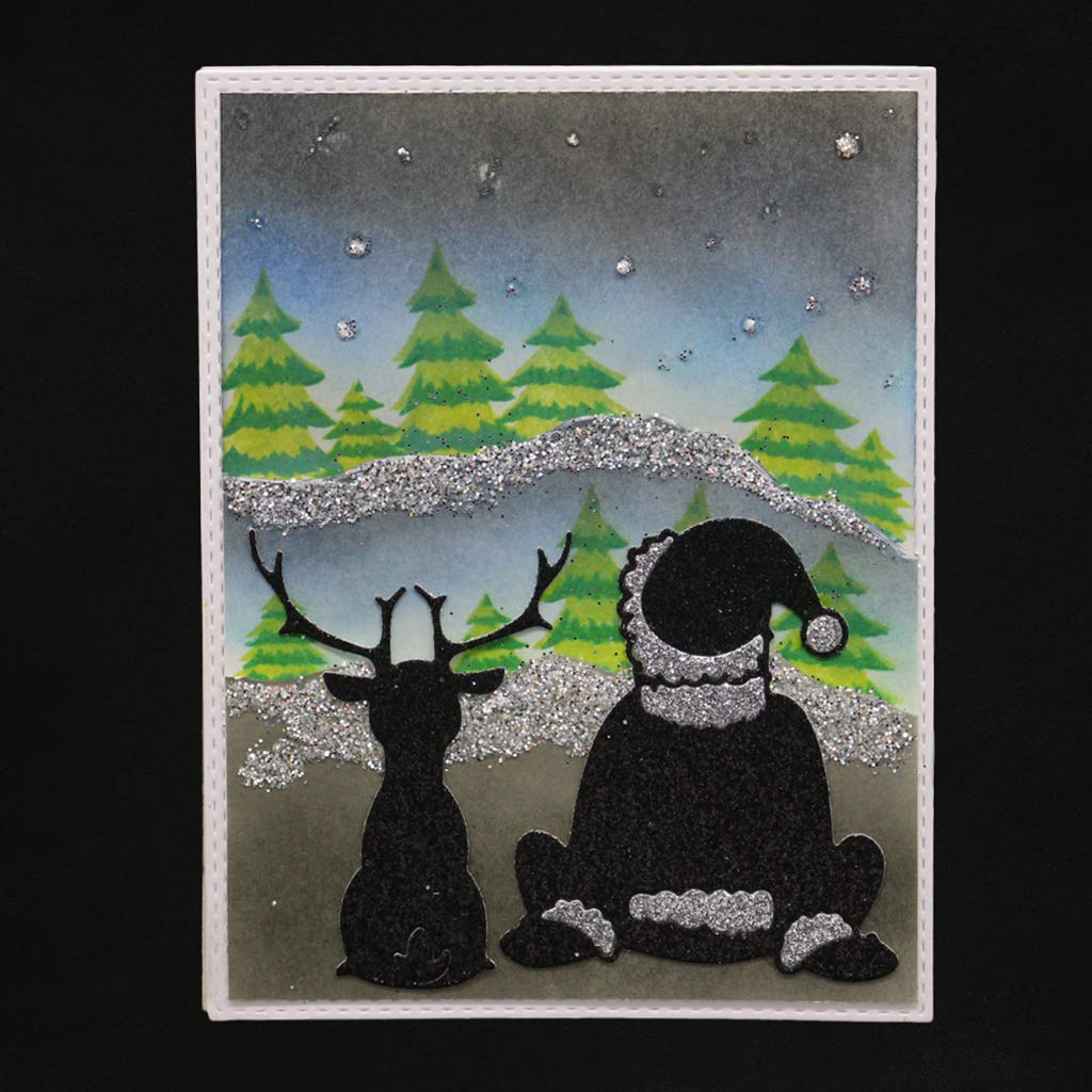 Xurgm Weihnachtsmann und Hirsch Metall Stanzschablonen Weihnachten Motiv Metall Schneiden Schablonen Stanzformen Silber f/ür DIY Scrapbooking Album Schneiden Schablonen Papier Karten Sammelalbum Deko