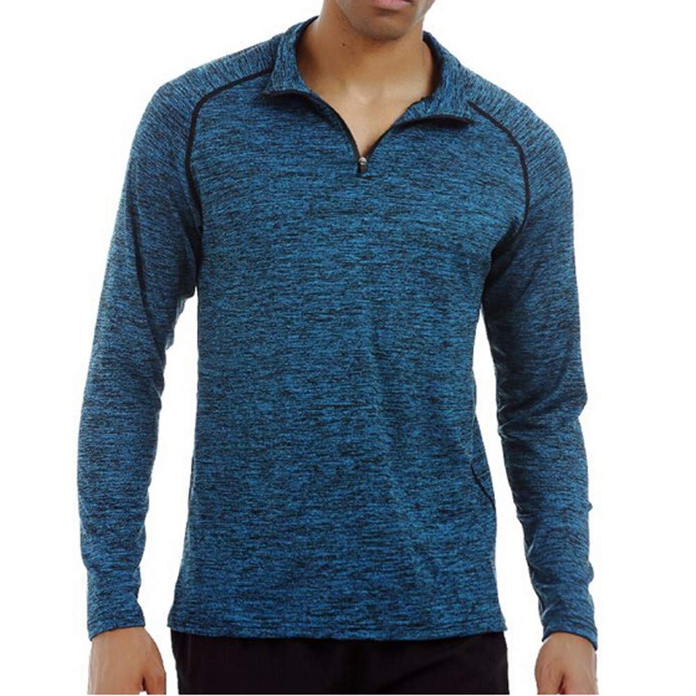 Fatchot Mens Baselayer Top, Long Sleeve Shirt Zip Neck Quick Drying T Shirt Breathable Tee Lightweight-Great Travelling Easy To Pack