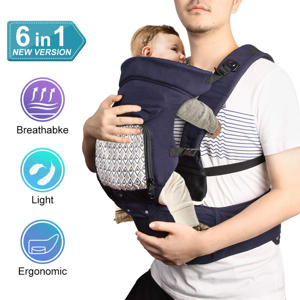 Baby Carrier with Hip Seat, 6 in1 Ergonomic Baby Carrier Backpack, Convertible Carrier for all season, Adjustable Waistband, Comfortable and Safe Positions for Infant, Toddler, Perfect for Alone Nursi GeekDigg GDBC1951NBUS