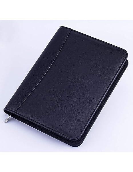 BJYG Cuaderno A5 Cuaderno de Cuero con Cremallera Carpeta ...