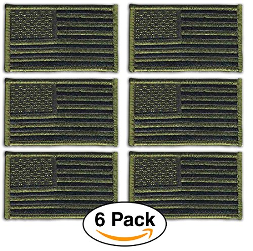 6 Pack- American Flag Embroidered Patches Olive Green, Tactical Subdued Antique look USA United States of America, Sew on by Hero's Pride