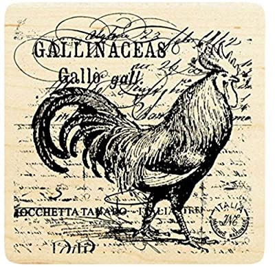 """{Single Count} Unique & Custom (4"""" Inches) """"Rooster & Text Collage"""" Square Shaped Genuine Wood Mounted Rubber Inking Stamp"""