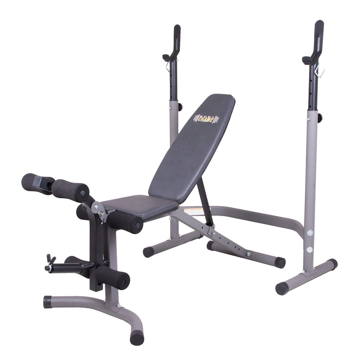 Body Champ BCB3780 Olympic Weight Bench with Leg Extension Curl Lift Developer Attachment / 2 piece Combo Bench and Squat Rack Stand by Body Champ