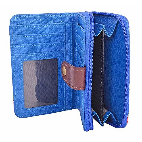 LeahWard® Damen Mode Qualität Polka Dot Reißverschluss Bifold Geldbörse Brieftasche Chic Münze Kunstleder Unterarmtasche CWP1073 CWK1-F-Royal blau