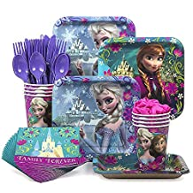 Disney Frozen Party Supplies Pack Including Plates, Cutlery, Cups, Napkins for 8 Guests