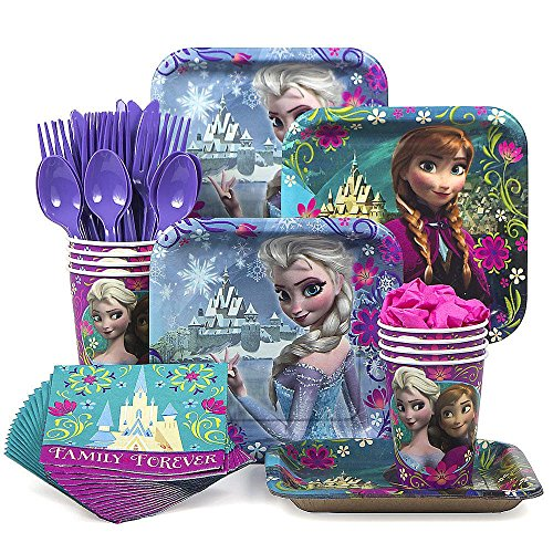 Designware Disney Frozen Party Supplies Pack Including Plates, Cutlery, Cups, Napkins for 8 Guests -