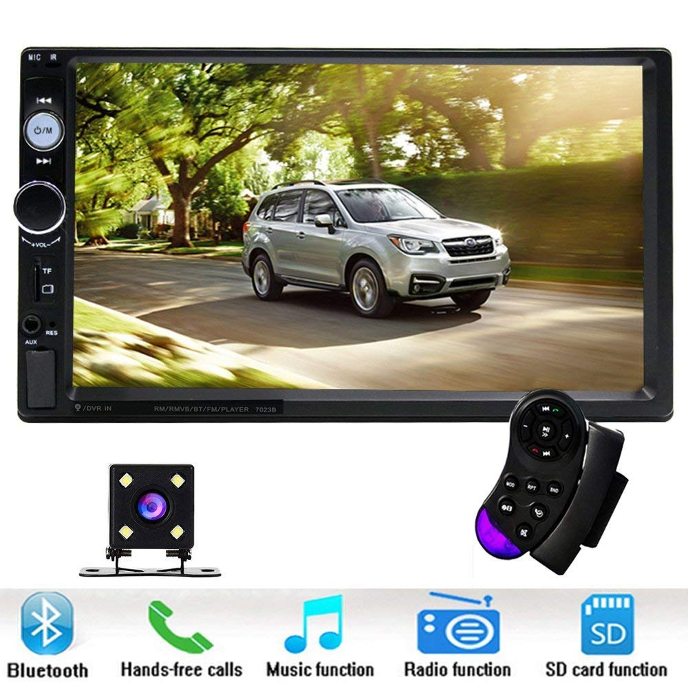 Double Din Car Stereo Universal Radio Multimedia - 7in LCD Digital TouchScreen - Smart MP5 Bluetooth Autoradio Music Player - AM FM USB MP3 SD - Bluetooth Remote Control and Backup Rear View Camera