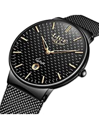 Watch for Men,LIGE Stainless Steel Waterproof Sport Analog Quartz Watch Gents Ultra Thin Black Dial Fashion Casual Dress Wrist Watch with Milanese Mesh Band