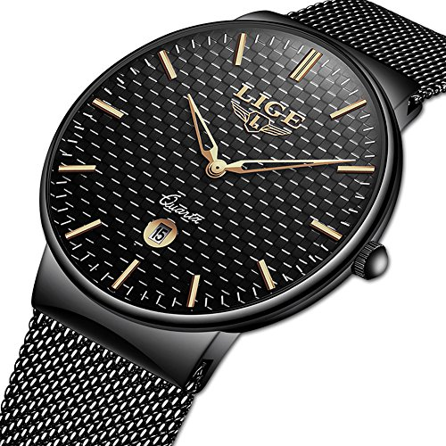 Black Oval Dial - Watch for Men,LIGE Stainless Steel Waterproof Sport Analog Quartz Watch Gents Ultra Thin Black Dial Fashion Casual Dress Wrist Watch with Milanese Mesh Band