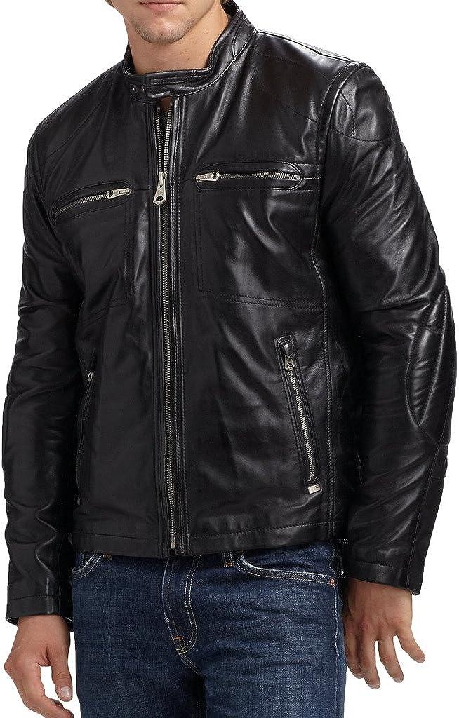 New Mens Biker Lambskin Leather Jacket LT231