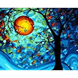 [WOODEN FRAME]Diy Oil Painting Paint By Number Kit- Dream Tree by Van Gogh 16x20 Inch