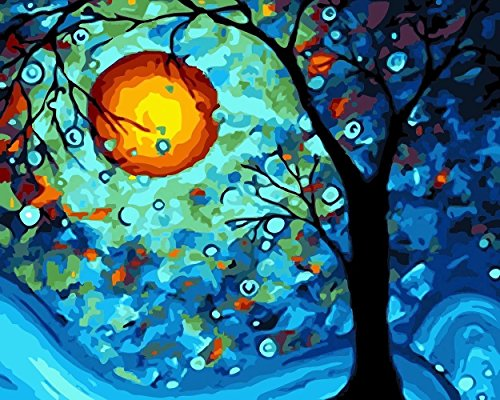[Wooden Framed] Diy Oil Painting Paint by Number Kit for Adults Kids-Dream Tree by Van Gogh 12x16 Inch