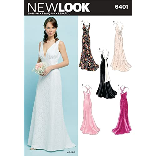 New Look 6401 Size A Misses Special Occasion Dresses Sewing Pattern, Multi-Colour