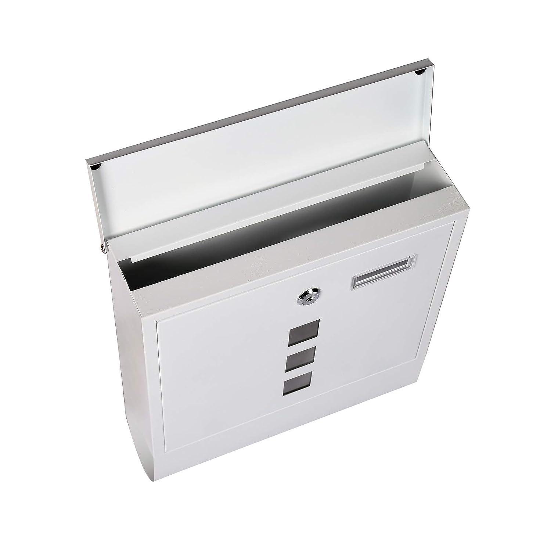 Briefkasten mit Zeitungsfach in Wei/ß mit gro/ßem Einwurf und mehreren Sichtfenstern
