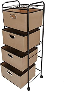 copylegend Four-tier Non-woven Fabric Drawer Black Carbon Steel Stoving Varnish Pipes Storage Cart Brown