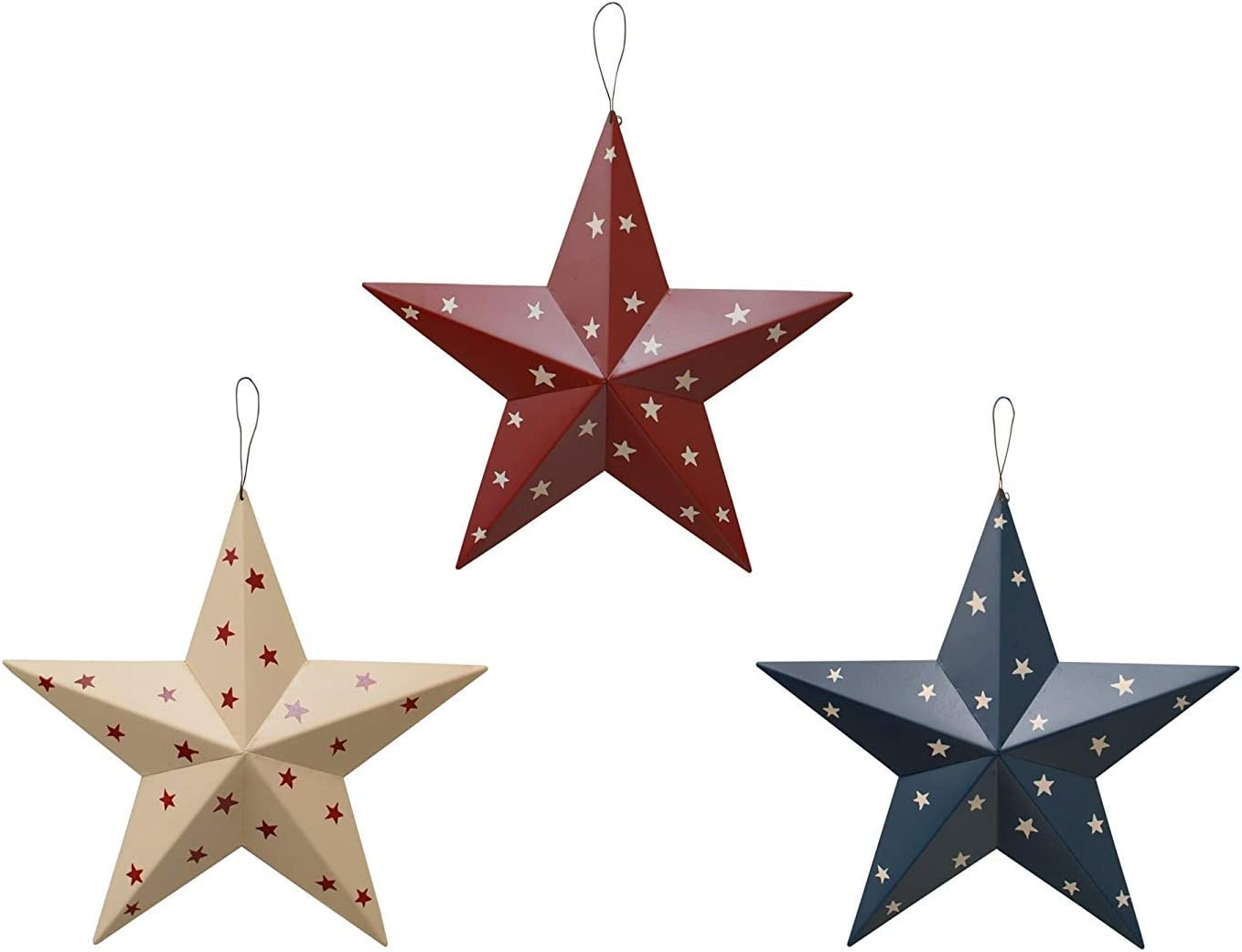 YUMBOR Rainbow Handcrafts Rustic Metal 3D Barn Star Patriotic Wall Decor Americana Star July 4th Country Americana Patriotic Wall Ornament,Outdoor Decoration Set of 3 (Blue/Red/Beige)