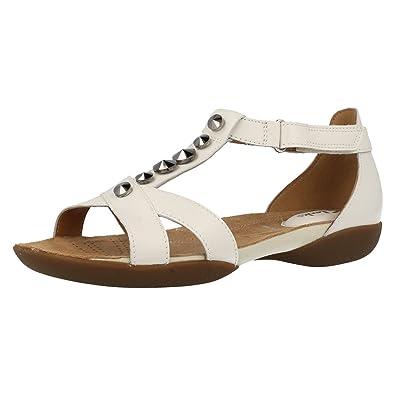 7acec4f5a1f Clarks Ladies T-Bar Flat Velcro Sandals Raffi Scent White Leather Size 8E