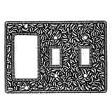 Vicenza Designs WPJ7012 San Michele Wall Plate with Jumbo Double Toggle and Dimmer Opening, Vintage Pewter