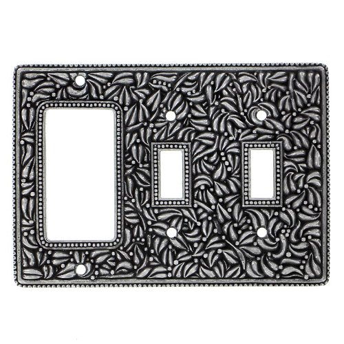 Pewter Dimmer (Vicenza Designs WPJ7012 San Michele Wall Plate with Jumbo Double Toggle and Dimmer Opening, Vintage Pewter)
