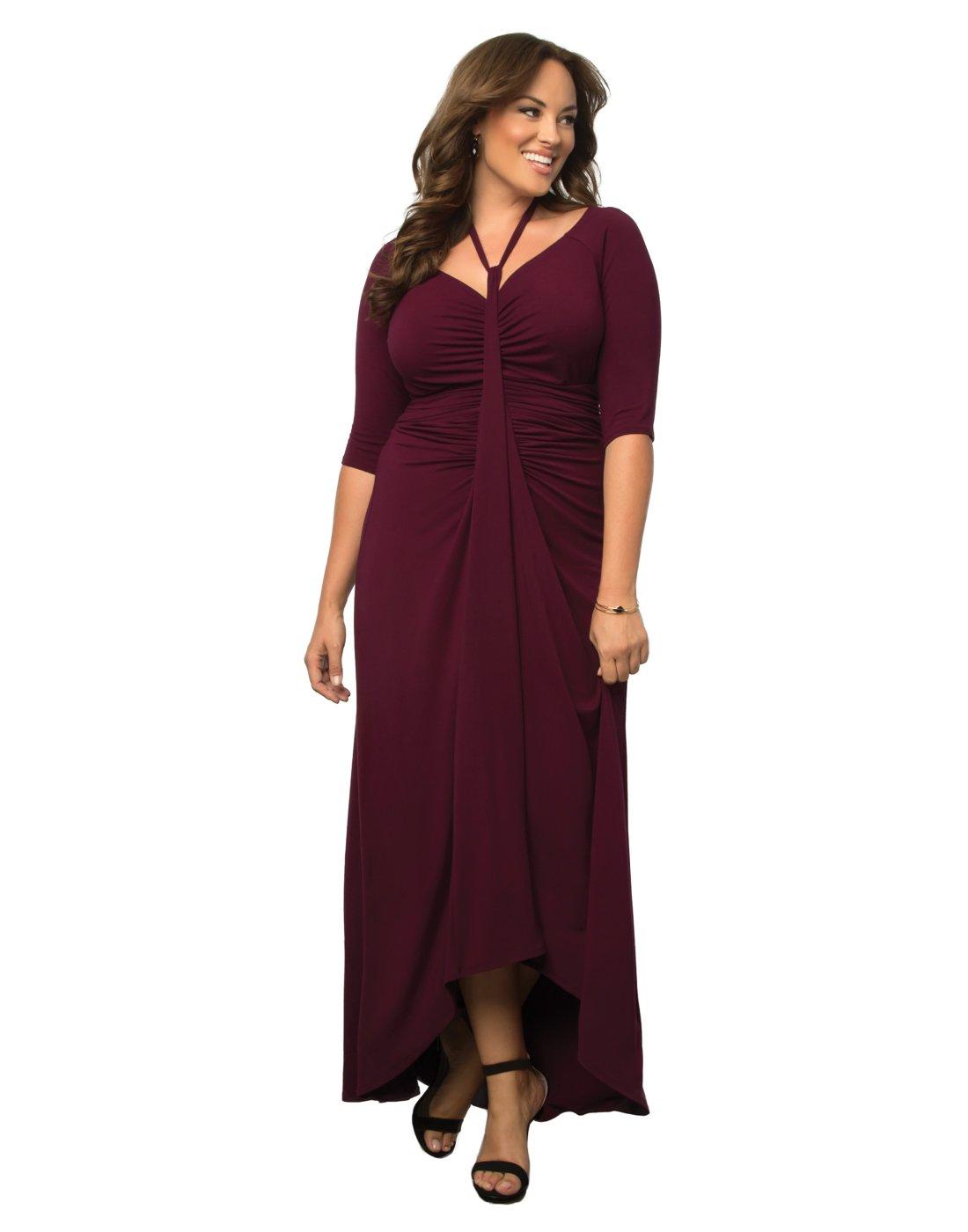 Kiyonna Women's Plus Size Divine Draped Maxi Dress 1X Raspberry Wine