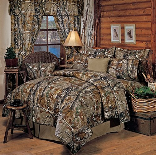 - Realtree All Purpose Camouflage 9 Pc Queen Comforter Set (1 Comforter, 1 Flat Sheet, 1 Fitted Sheet, 2 Pillow Cases, 2 Shams, 1 Square Accent Pillow, 1 Bedskirt) SAVE BIG ON BUNDLING!