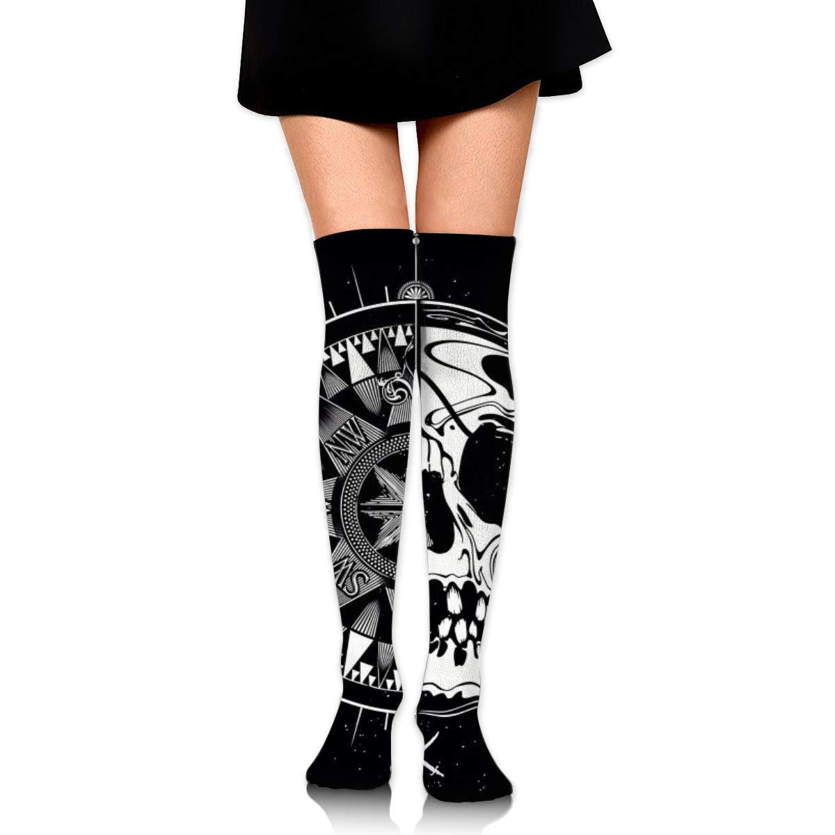 Kjaoi Girl Skirt Socks Uniform Compass Skull Women Tube Socks Compression Socks