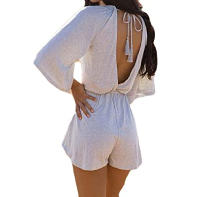Abetteric Womens V Neck Bodysuit 3/7 Sleeve Hot Pants Strappy Backless Sexy Rompers