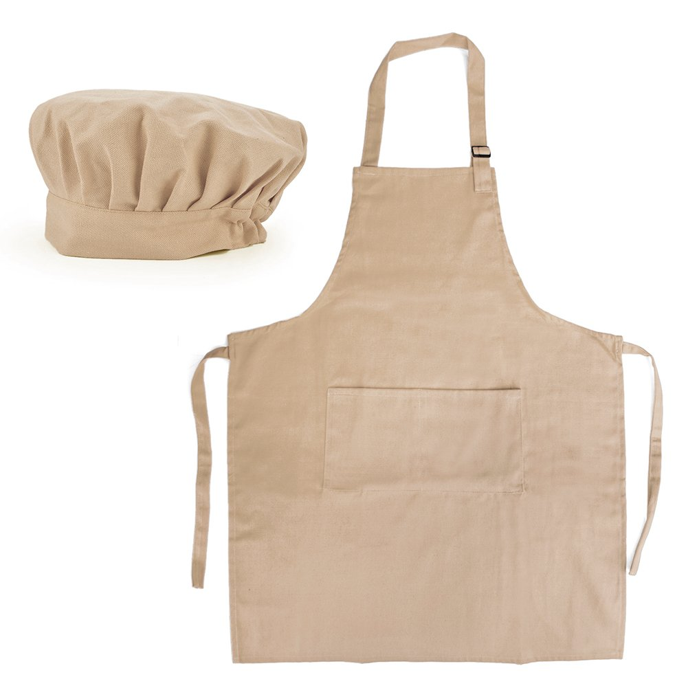Opromo 12-Pack Cotton Canvas Adjustable Apron and Chef Hat Set-Khaki-L