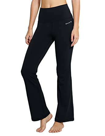20db46de3b Baleaf Women's Fold Over High Waist Tummy Control Workout Bootleg Yoga Pants  Black Size S