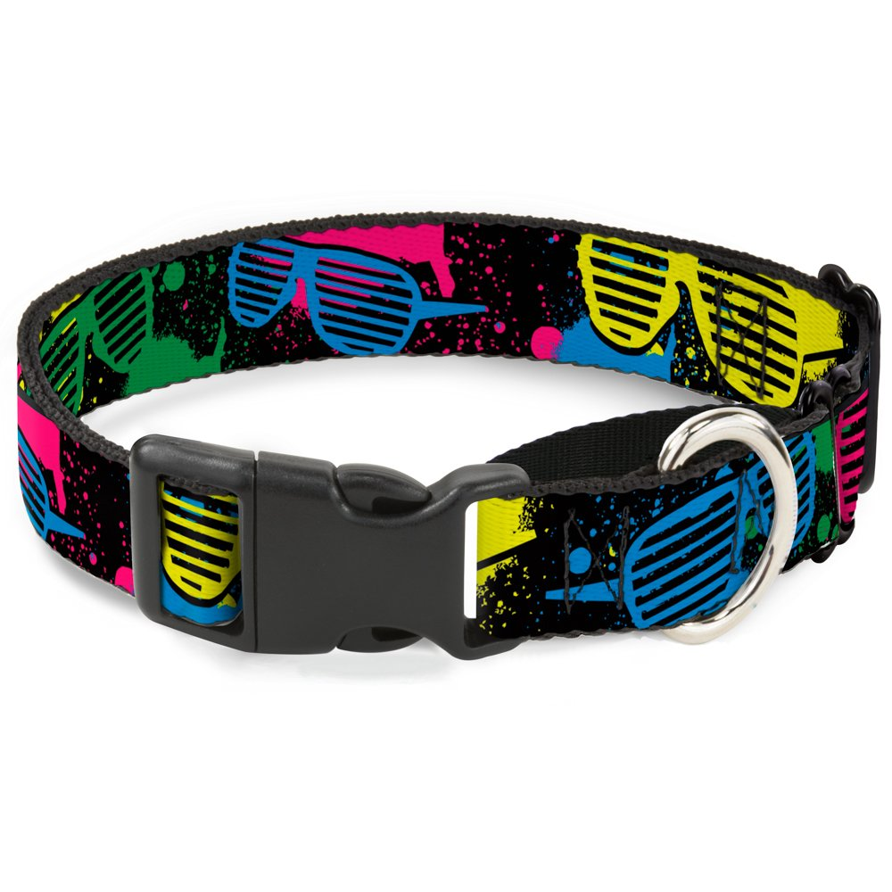 Buckle-Down Eighties Shades Splatter Black Neon Martingale Dog Collar, 1  Wide-Fits 15-26  Neck-Large