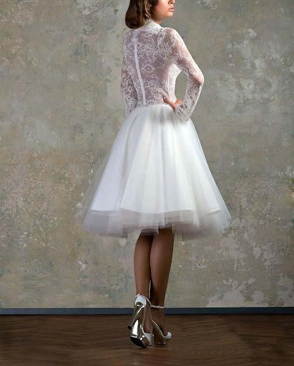Dreamdress Womens Deep V-Neck Lace Long Sleeve Short Wedding Dresses