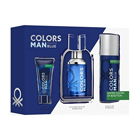 BENETTON COLORS BLUE MEN EDT 100ML VAPORIZADOR+DEO150ML+GEL 75ML SET REGALO