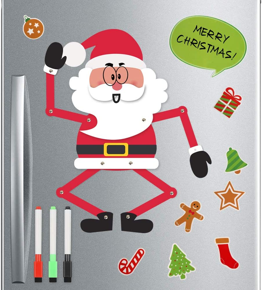 D-FantiX Jointed Fun Santa Christmas Refrigerator Magnets, 3D Movable Holiday Fridge Magnets Kids DIY Cute Christmas Magnet Set for Garage Door Christmas Decorations