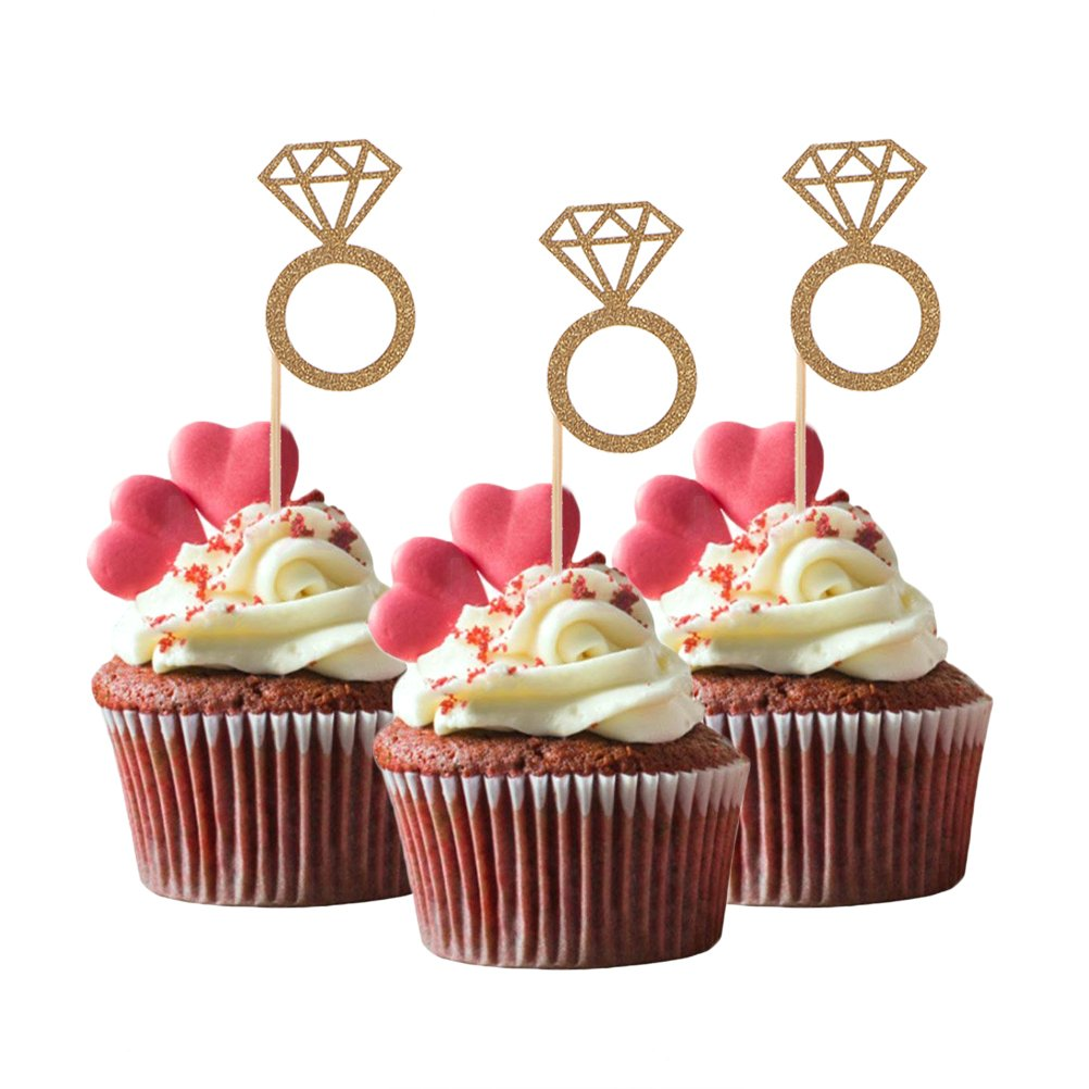 Bloomeet 50 Pcs Cupcake Topper Gold Glitter Diamond Ring Toppers Cake Picks Decorations For Amazon Grocery Gourmet Food: Wedding Ring Cupcake Picks At Websimilar.org